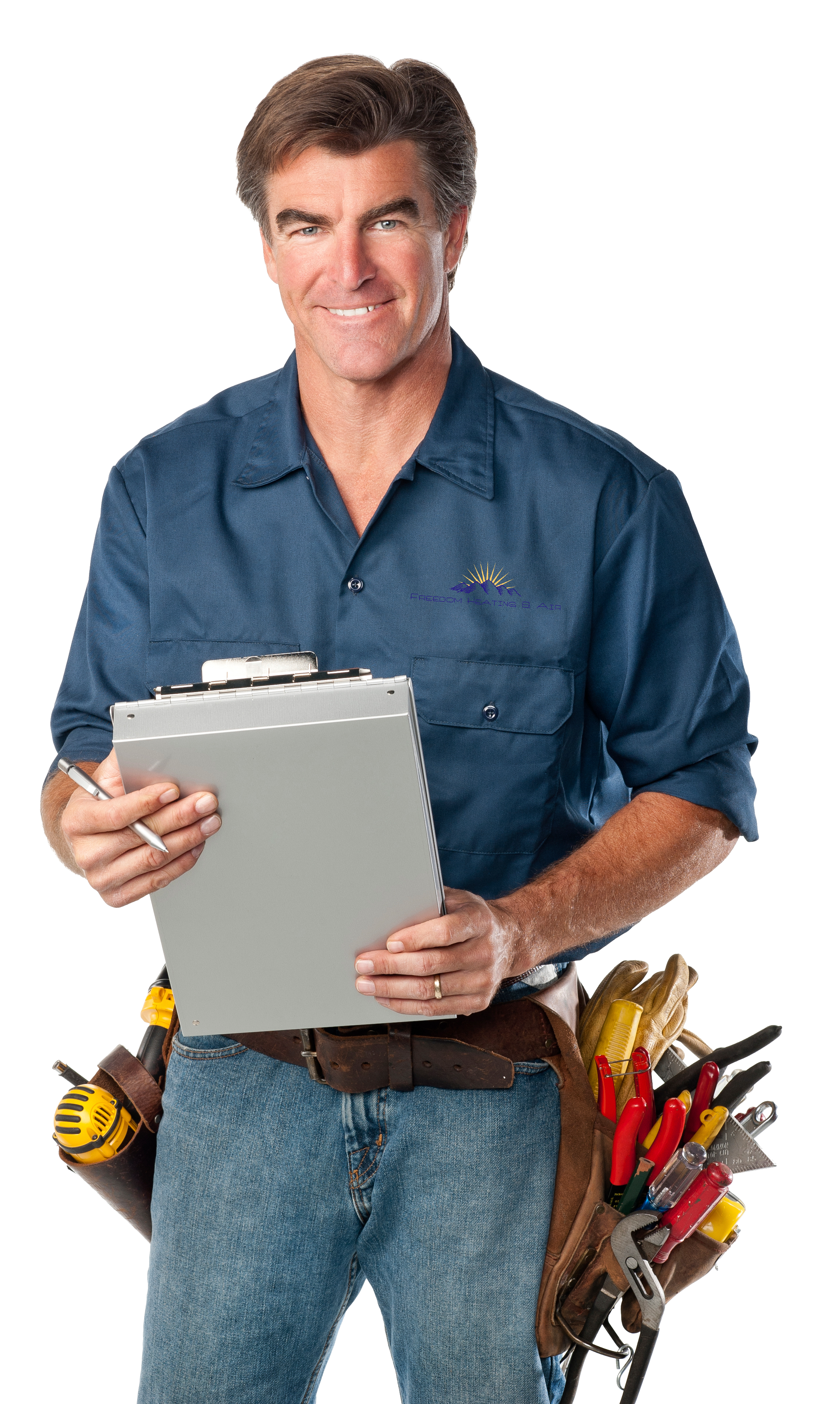 hvac tech with clipboard and tools