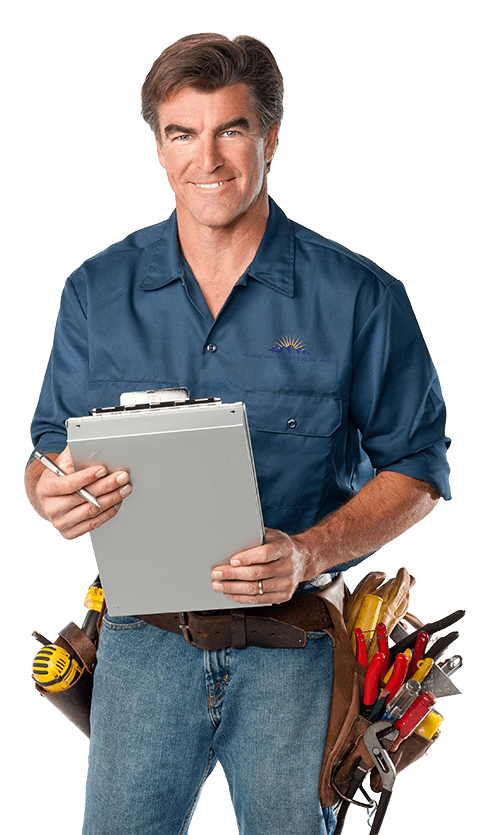 smiling hvac tech holding clipboard and pen